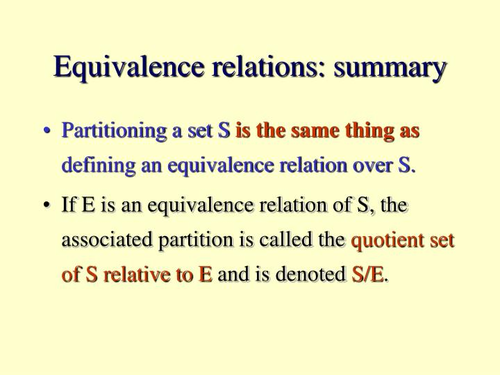 Equivalence relations: summary
