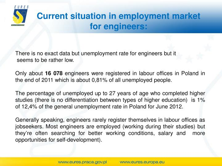 Current situation in employment market for engineers: