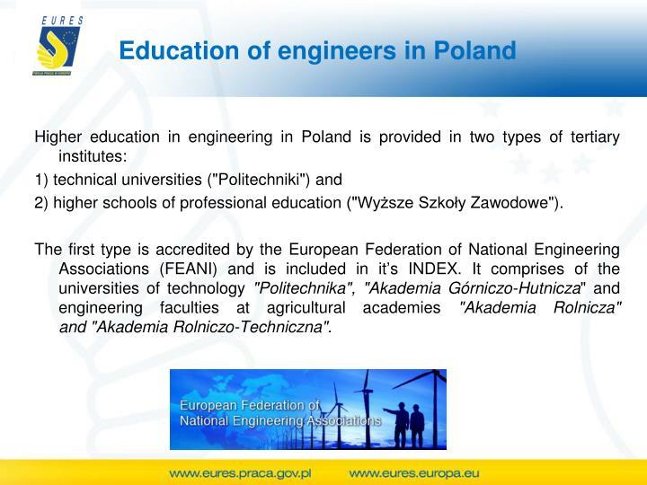 Education of engineers