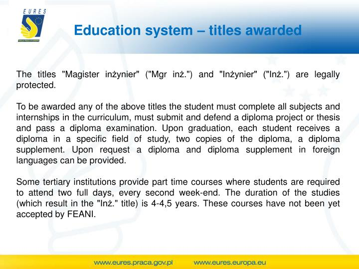 Education system – titles awarded