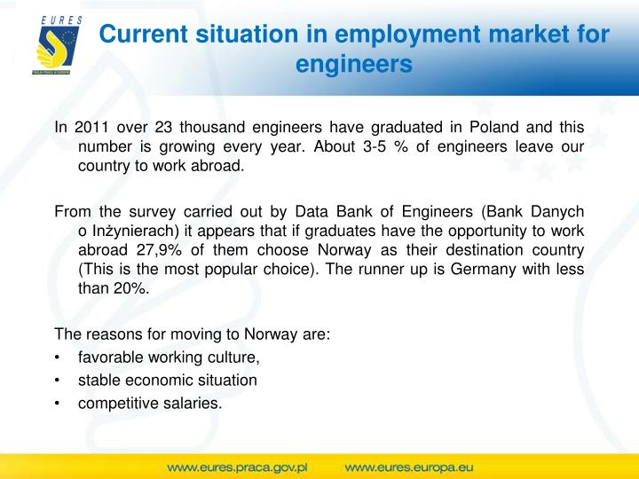 Current situation in employment market for engineers