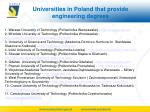 universities in poland that provide engineering degrees