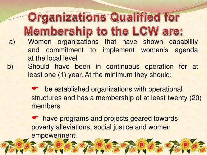 Organizations Qualified for