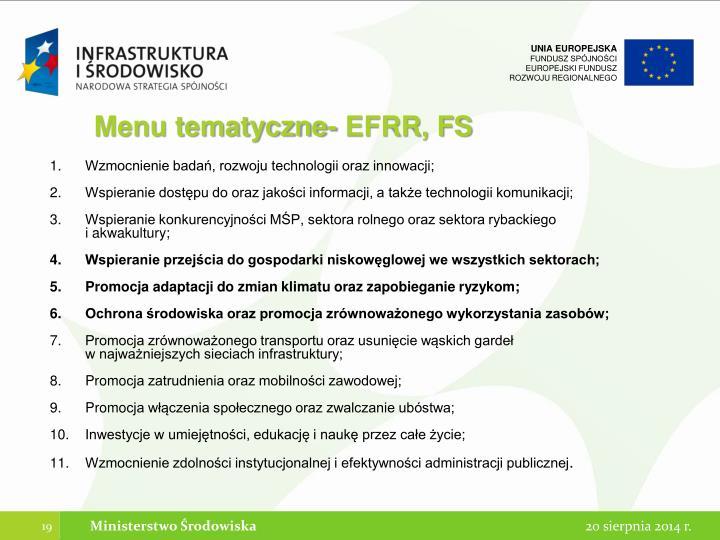 Menu tematyczne- EFRR, FS
