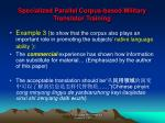 specialized parallel corpus based military translator training13