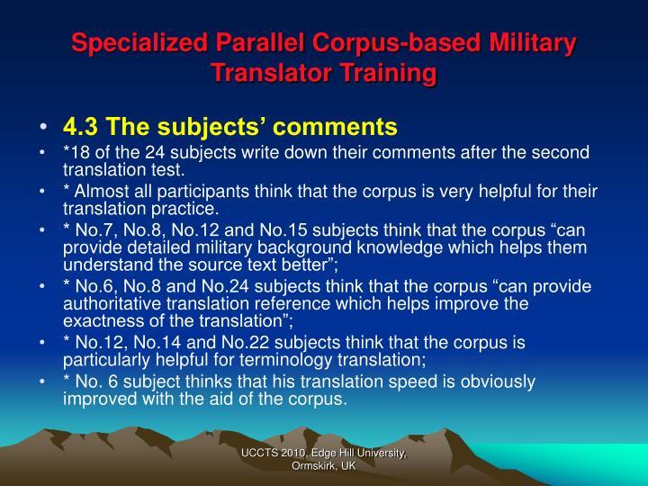 Specialized Parallel Corpus-based Military Translator Training