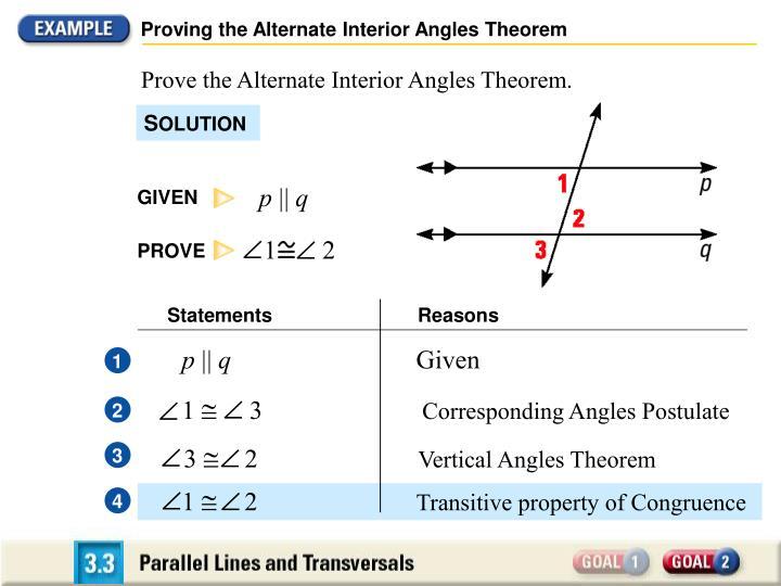 Proving the Alternate Interior Angles Theorem