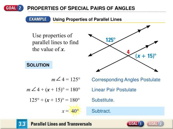 Using Properties of Parallel Lines