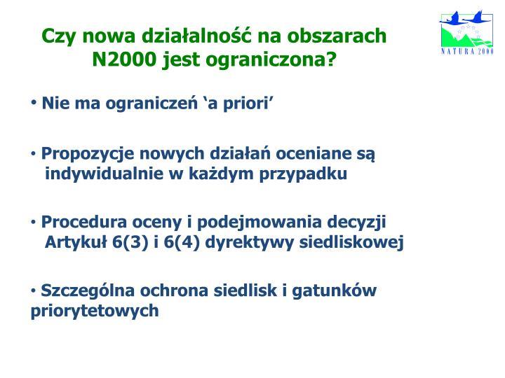 Czy nowa działalność na obszarach N2000 jest ograniczona?