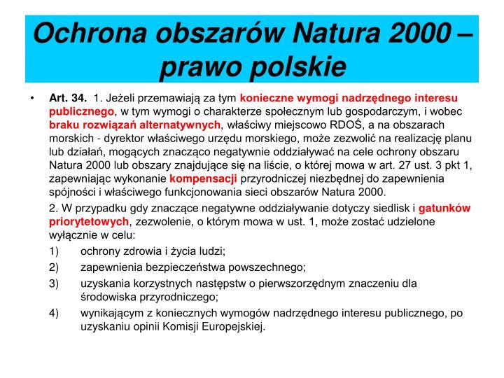 Ochrona obszarów Natura 2000 – prawo polskie