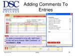adding comments to entries