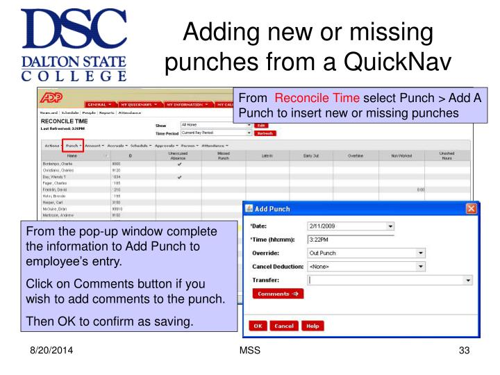 Adding new or missing punches from a QuickNav