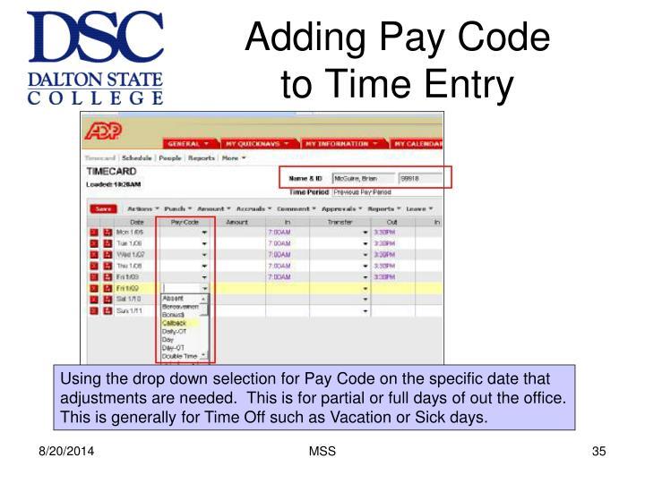 Adding Pay Code