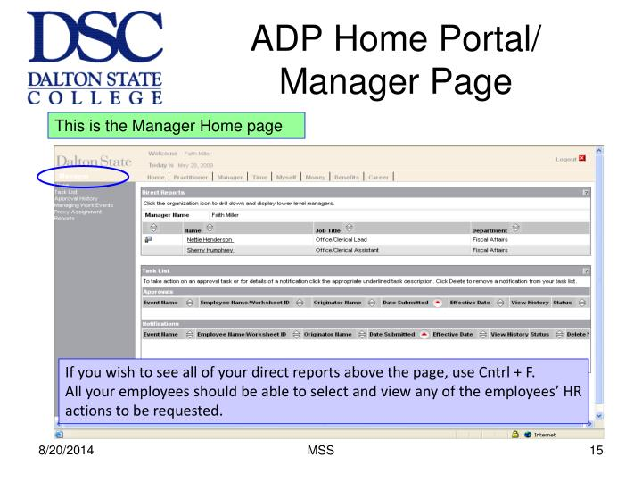 ADP Home Portal/ Manager Page