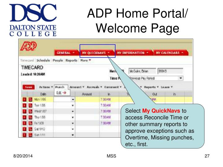 ADP Home Portal/ Welcome Page