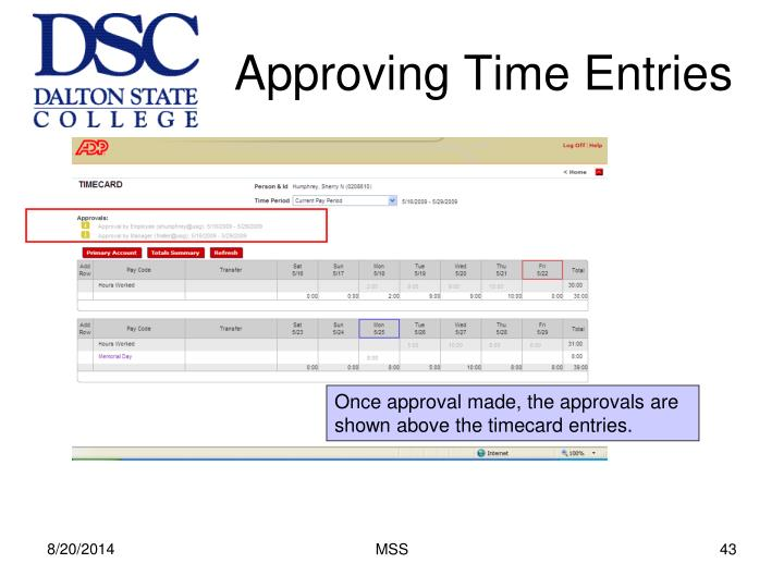 Approving Time Entries