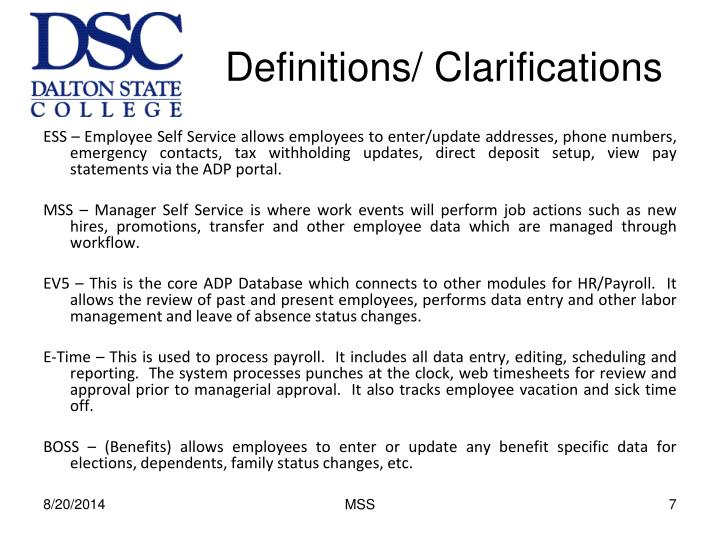 Definitions/ Clarifications