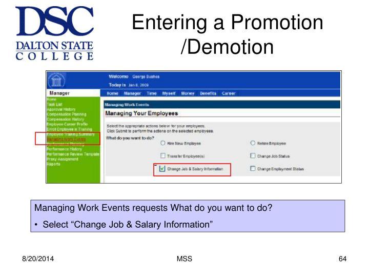 Entering a Promotion /Demotion