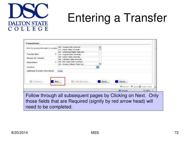 Entering a Transfer