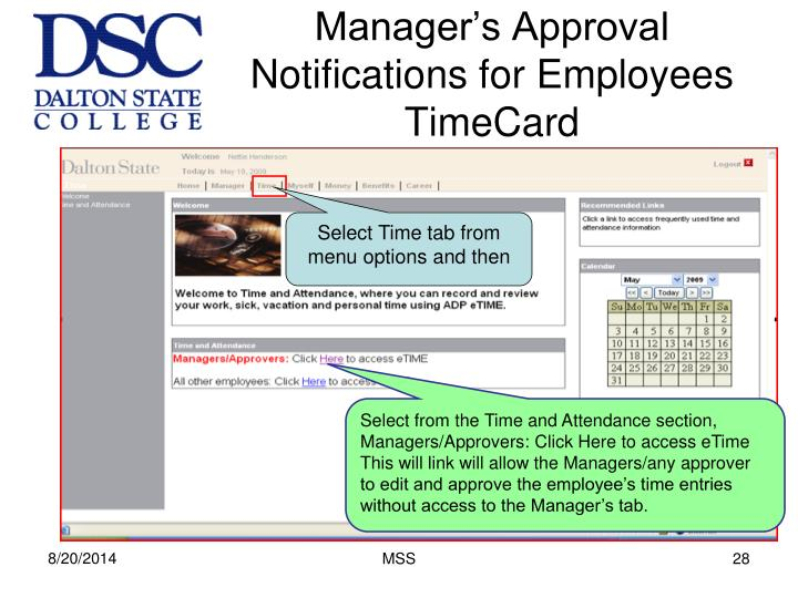Manager's Approval Notifications for Employees TimeCard