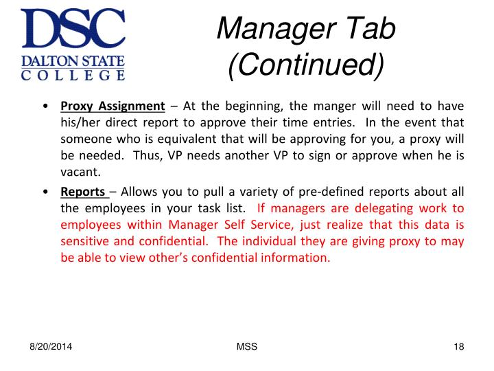 Manager Tab (Continued)