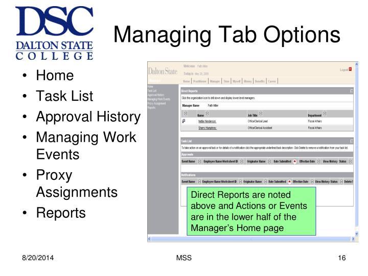 Managing Tab Options