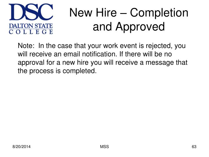 New Hire – Completion and Approved