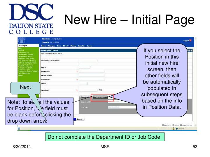New Hire – Initial Page