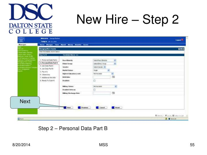 New Hire – Step 2