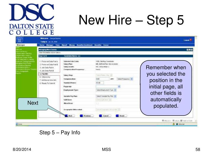 New Hire – Step 5