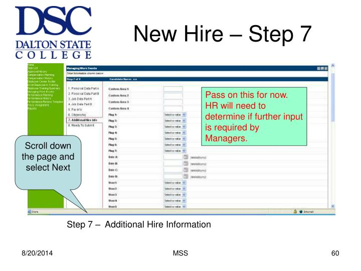 New Hire – Step 7