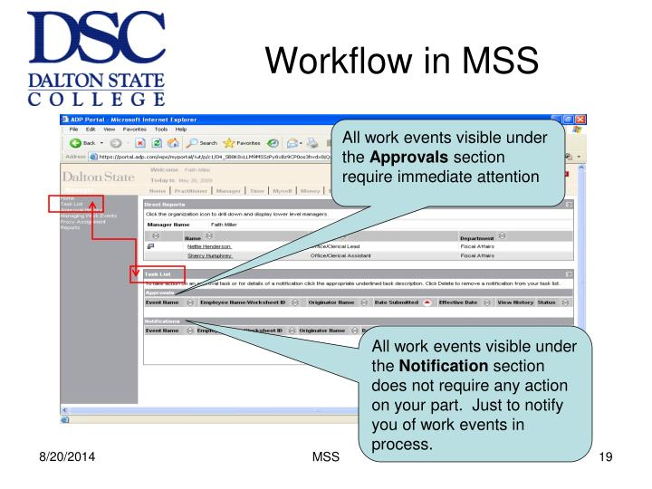 Workflow in MSS