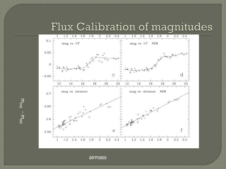 Flux Calibration of magnitudes