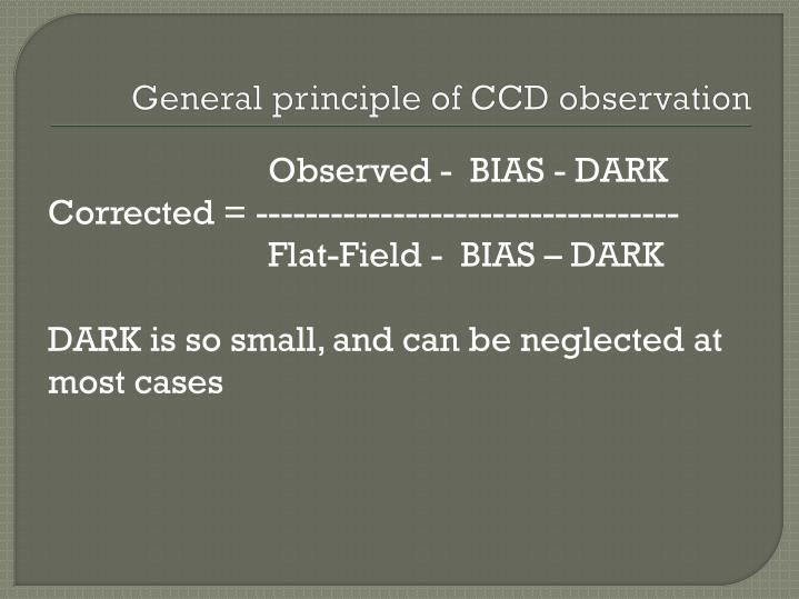 General principle of CCD observation