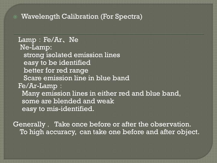 Wavelength Calibration (For Spectra)