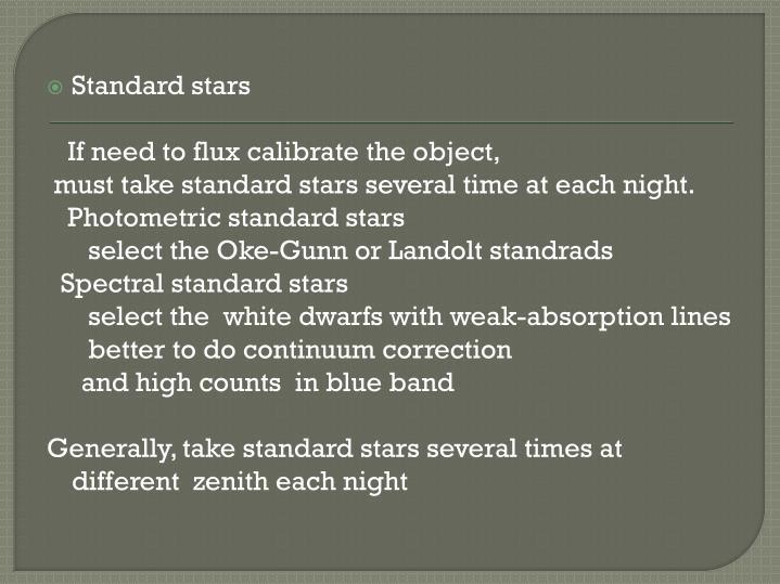 Standard stars