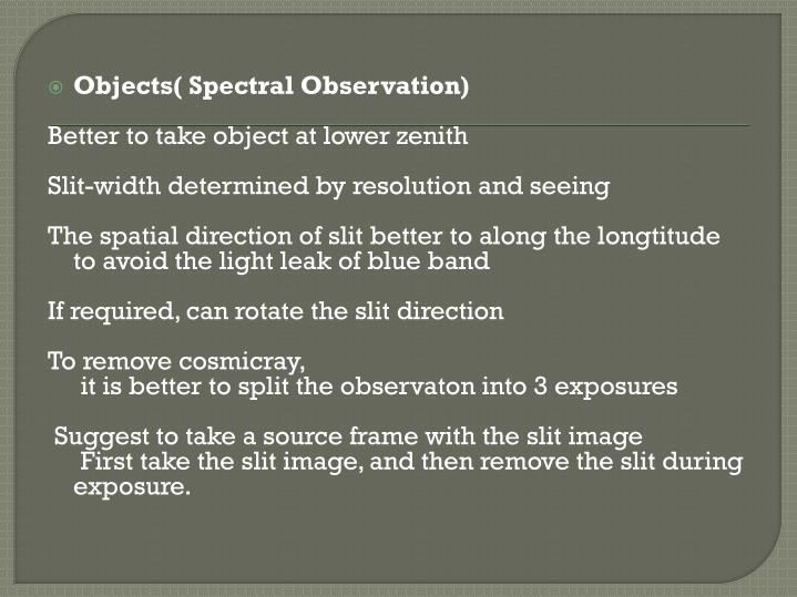 Objects( Spectral Observation)