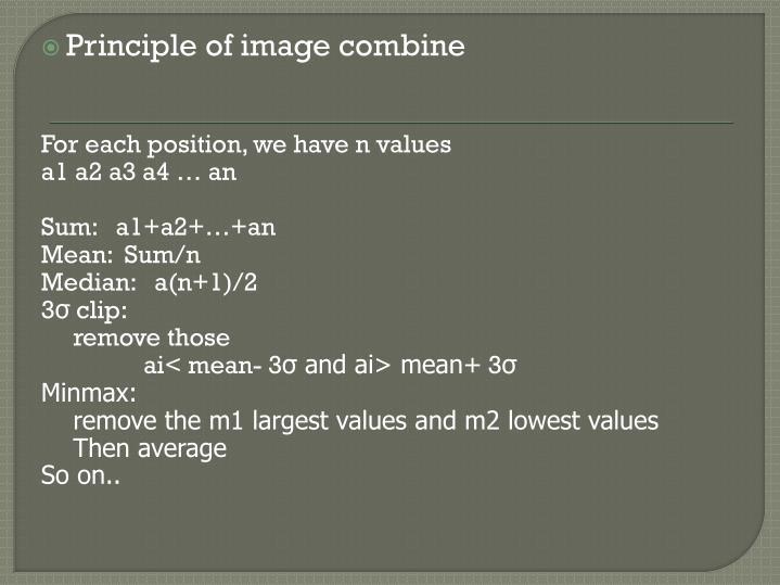 Principle of image combine