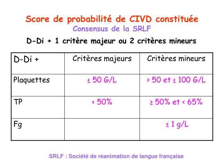 Score de probabilité de CIVD constituée