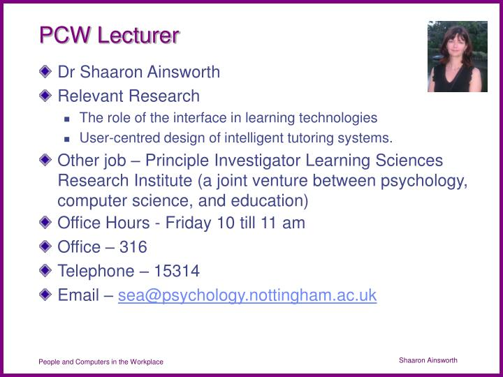PCW Lecturer