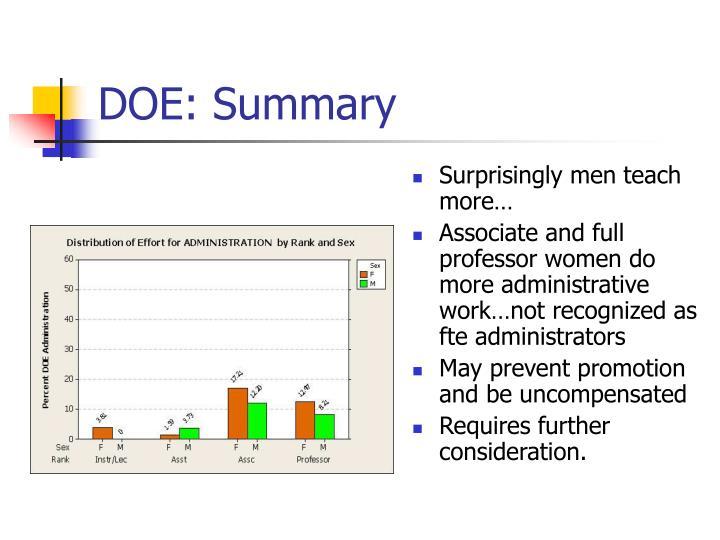 DOE: Summary