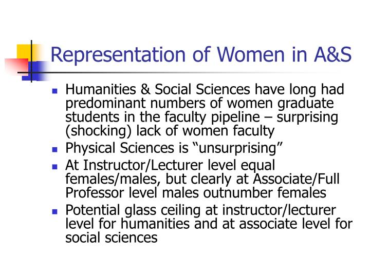 Representation of Women in A&S