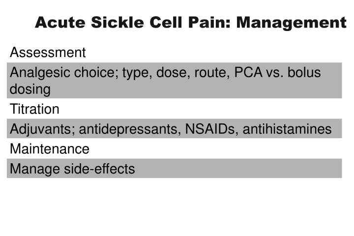 Acute Sickle Cell Pain: Management