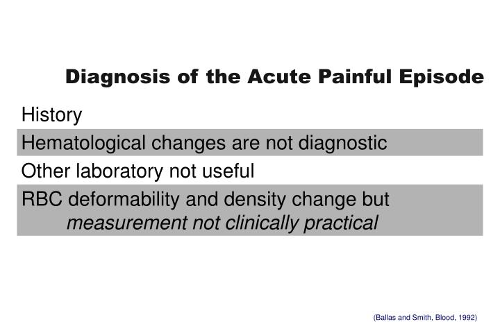 Diagnosis of the Acute Painful Episode