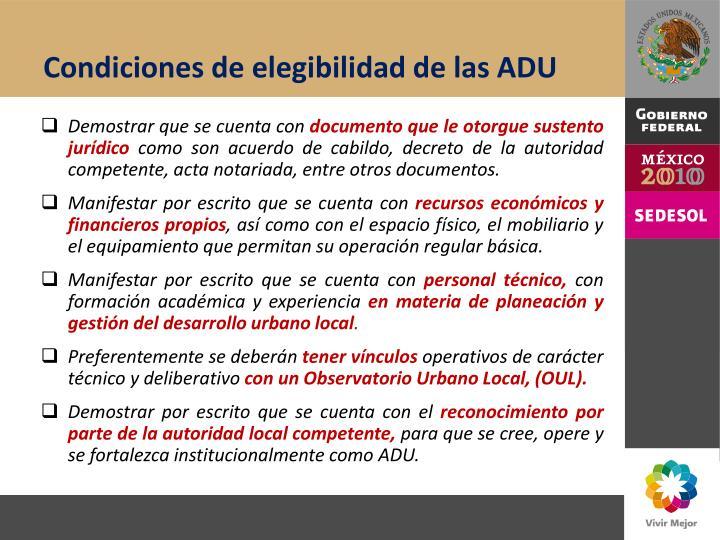 Condiciones de elegibilidad de las ADU