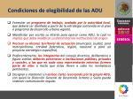 condiciones de elegibilidad de las adu1