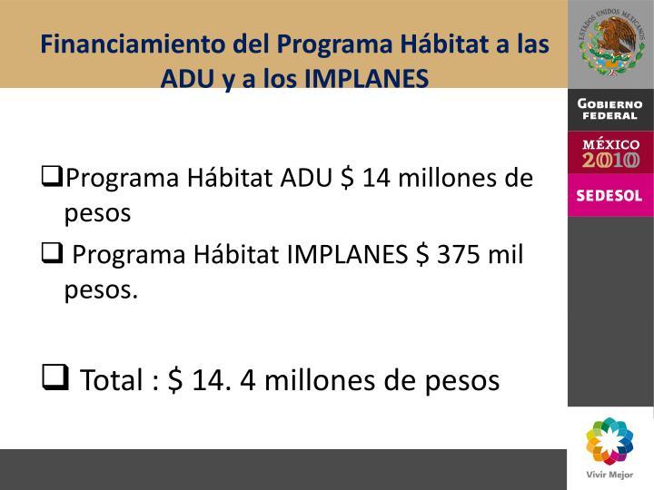 Financiamiento del Programa Hábitat a las ADU y a los IMPLANES
