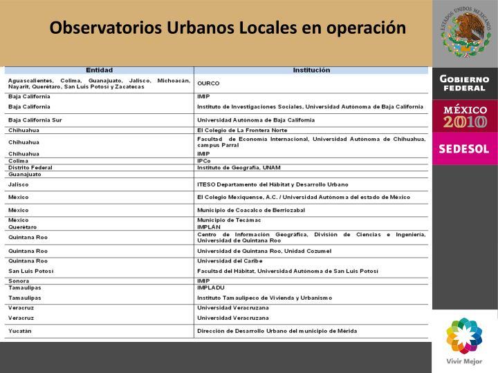 Observatorios Urbanos Locales en operación