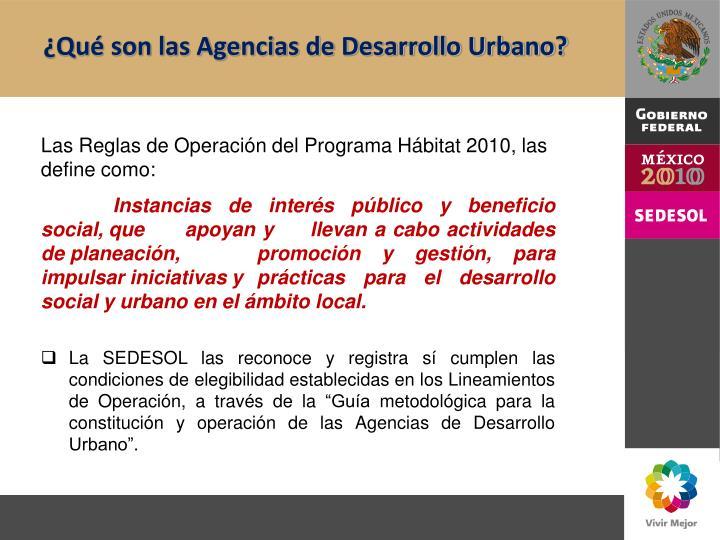 ¿Qué son las Agencias de Desarrollo Urbano?
