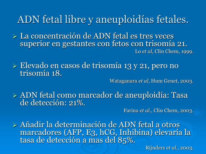 ADN fetal libre y aneuploidías fetales.